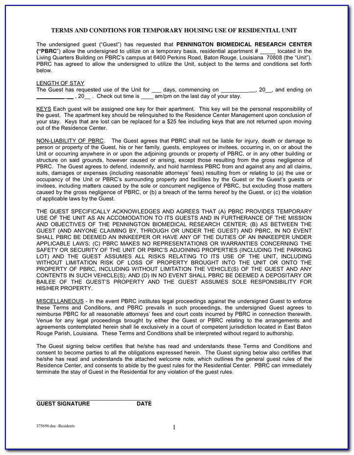 Standard Residential Tenancy Agreement Form