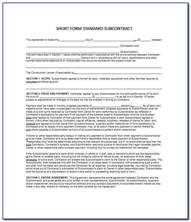 Standard Subcontract Agreement Template