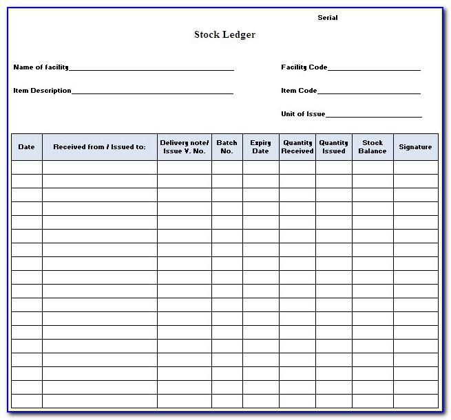 Stock Certificate Ledger Template