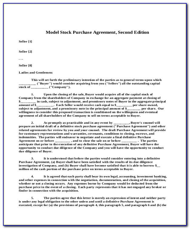 Stock Option Purchase Agreement Form