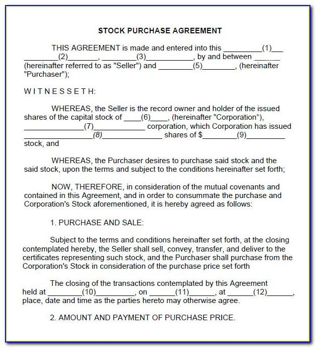 Stock Purchase Agreement Template Pdf