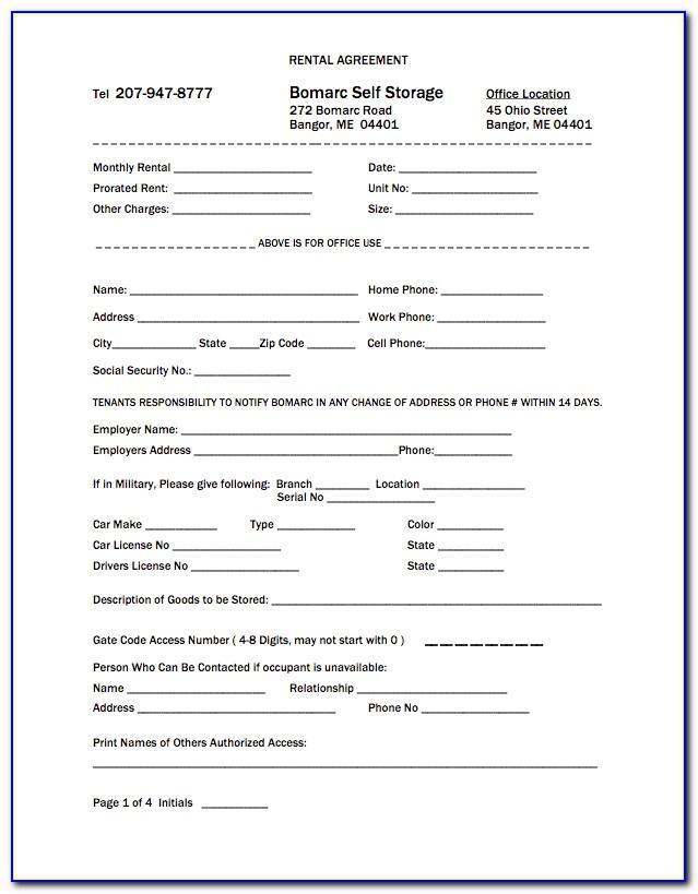 Storage Rental Agreement Contract