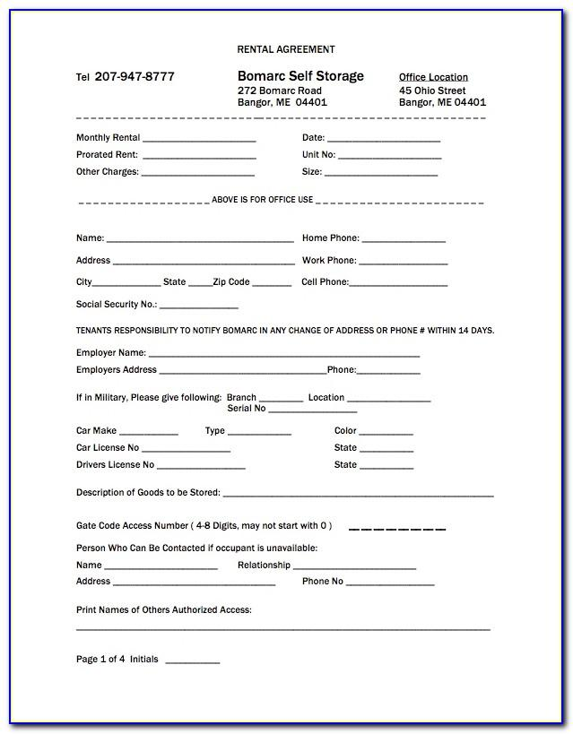 Storage Rental Agreement Forms Free