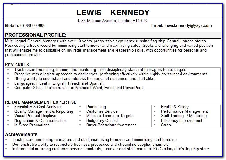 Store Manager Cv Template Uk