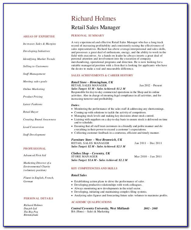 Store Manager Resume Format Download