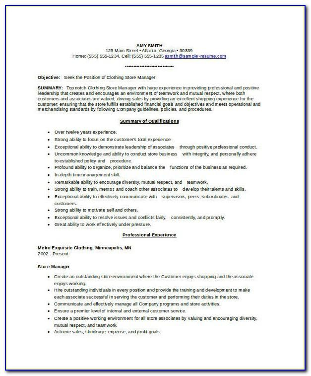 Store Manager Resume Sample Free