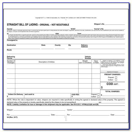 Straight Bill Of Lading Fillable Form