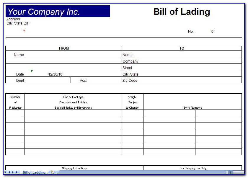 Straight Bill Of Lading Form Template
