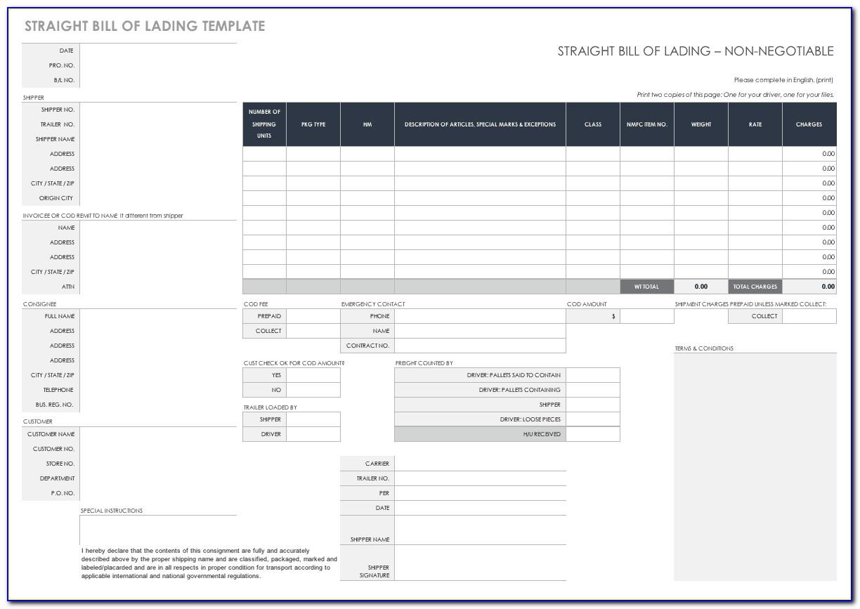 Straight Bill Of Lading Form Ups