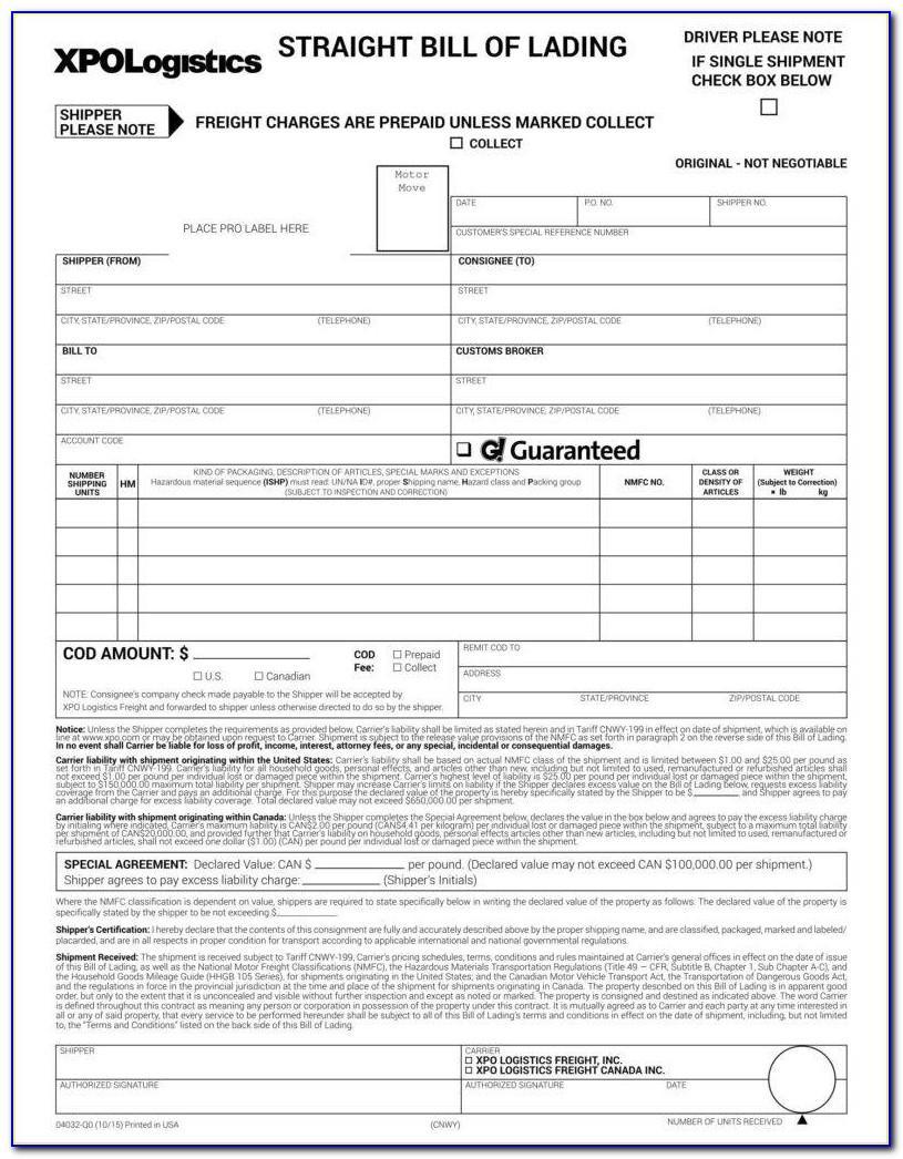 Straight Bill Of Lading Short Form Original Not Negotiable