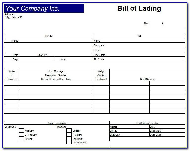 Straight Bill Of Lading Template Excel