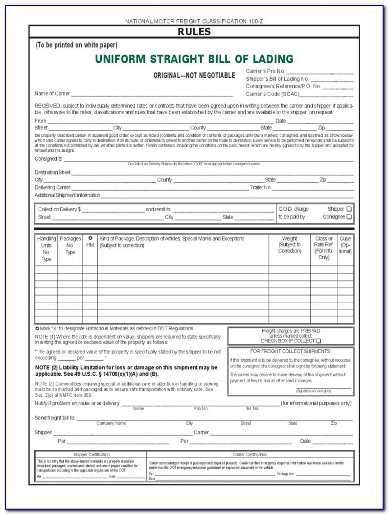 Straight Bill Of Lading Template Pdf