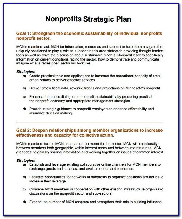 Strategic Planning For Nonprofit Organizations Sample