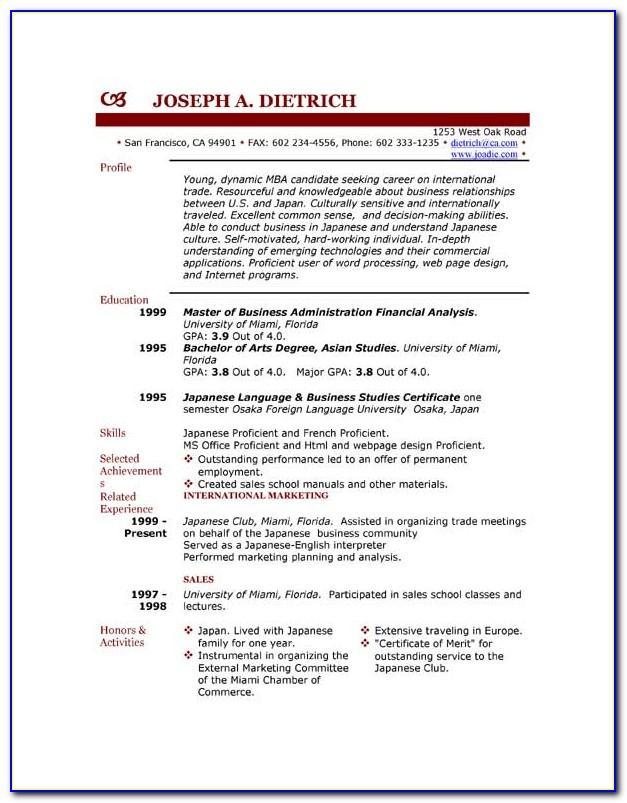 Student Resume Samples Free Download