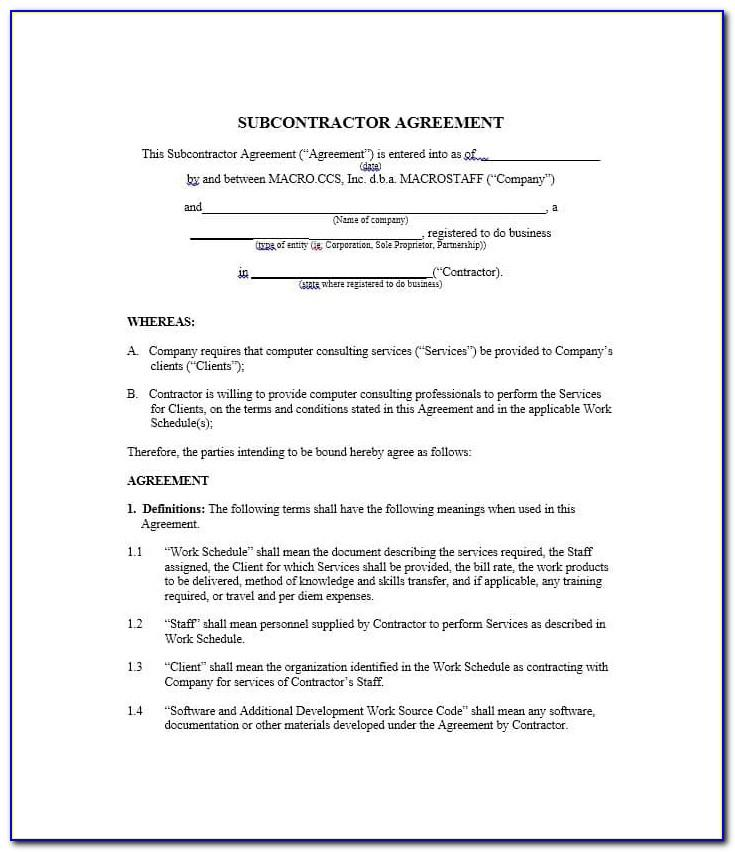 Subcontractor Agreement Sample Doc