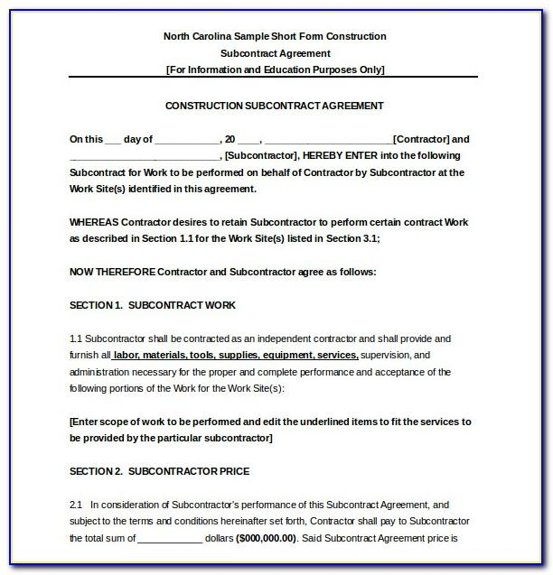 Subcontractor Agreement Sample Pdf