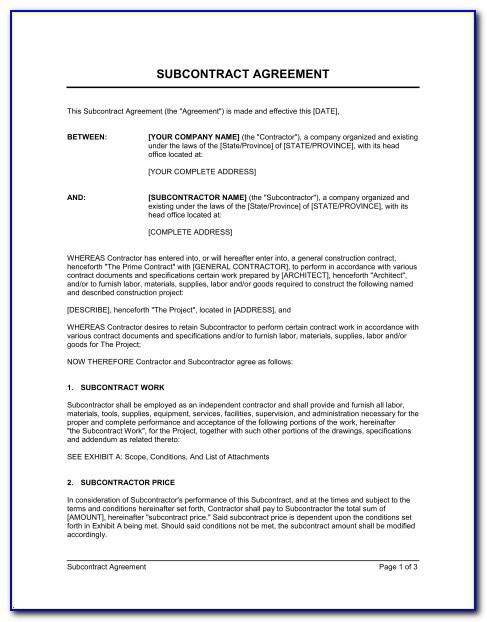 Subcontractor Agreement Template Au
