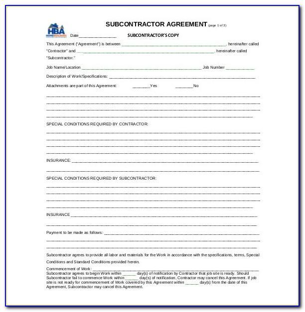 Subcontractor Agreement Template Australia