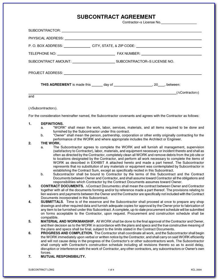 Subcontractor Agreement Template Canada