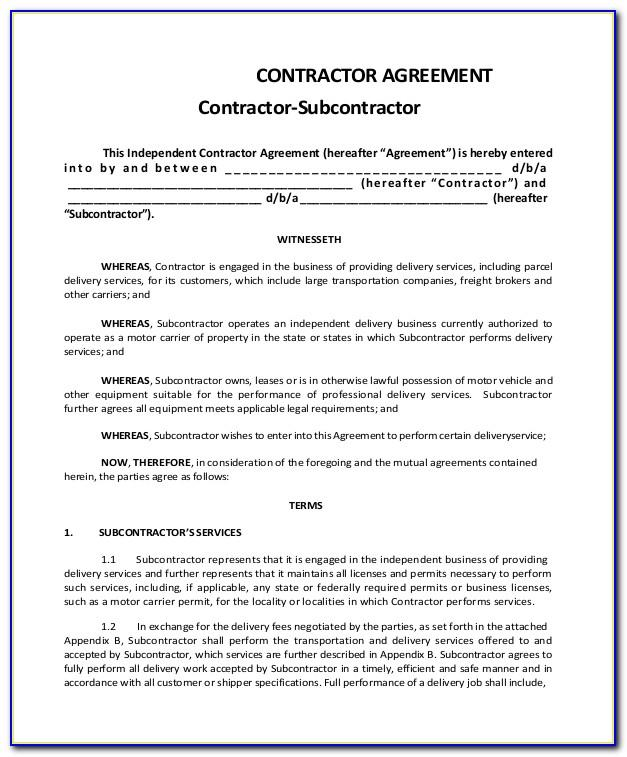 Subcontractor Agreement Template Construction