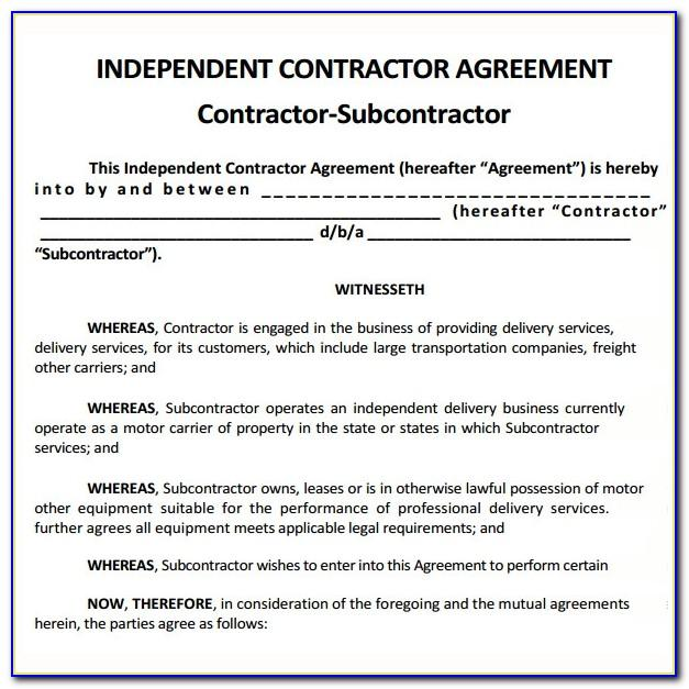 Subcontractor Agreement Template For Professional Services Uk