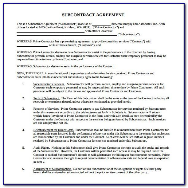 Subcontractor Agreement Template Free South Africa