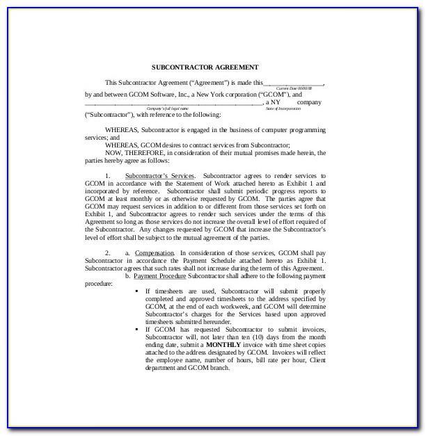 Subcontractor Agreement Template Uk