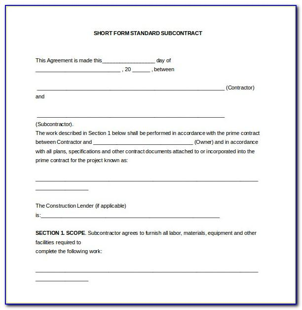 Subcontractor Contract Template Free Uk