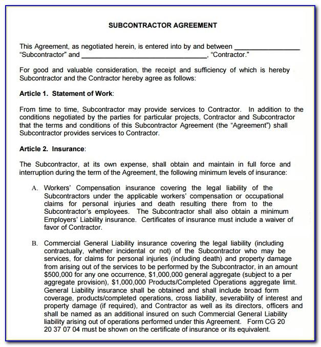 Subcontractor Contract Template Free