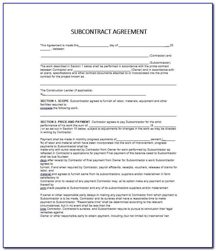 Subcontractor Non Compete Agreement Template