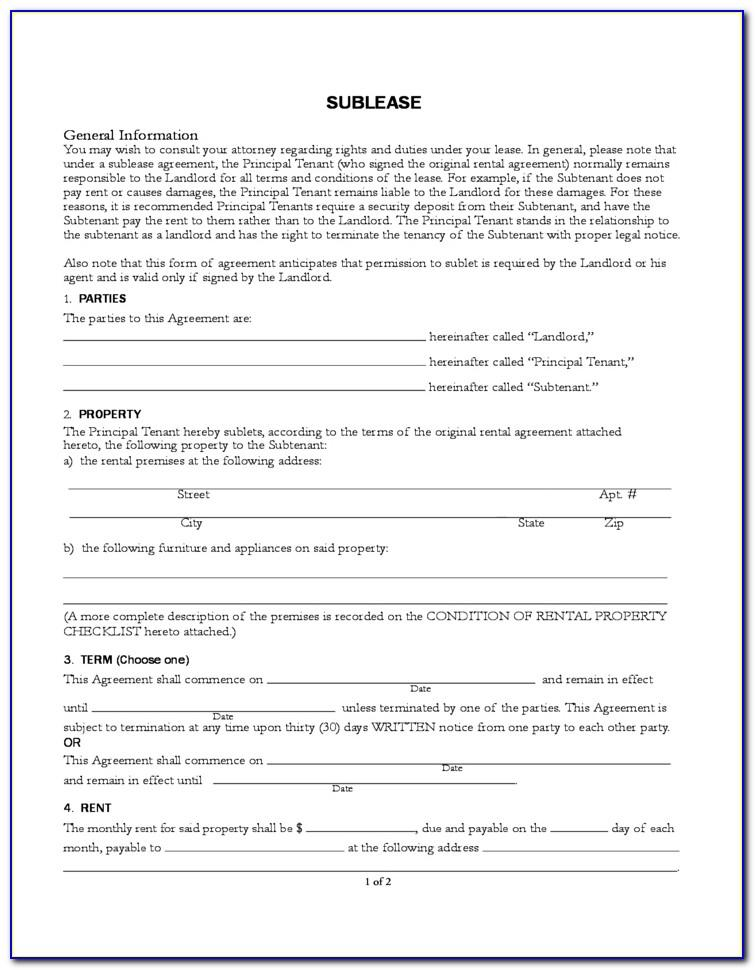 Sublease Agreement Template California