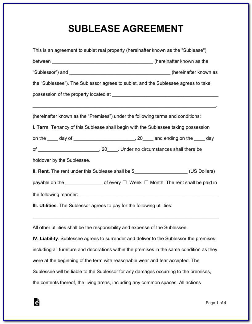 Sublease Agreement Template Free Australia