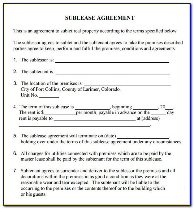 Sublease Agreement Template Pdf Free