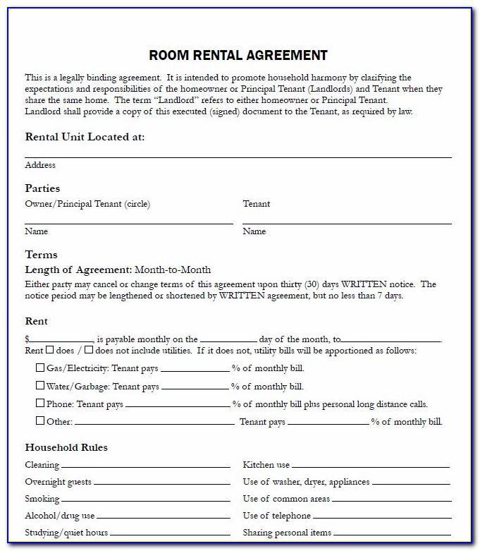 Sublet Agreement Form Uk