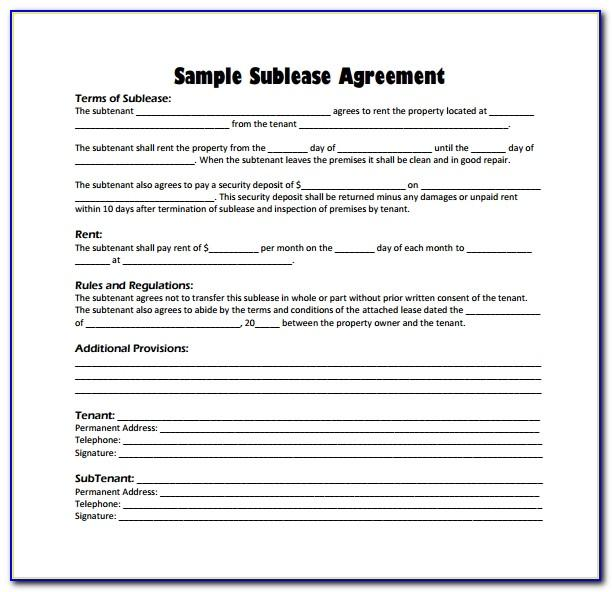 Sublet Contract Template Free