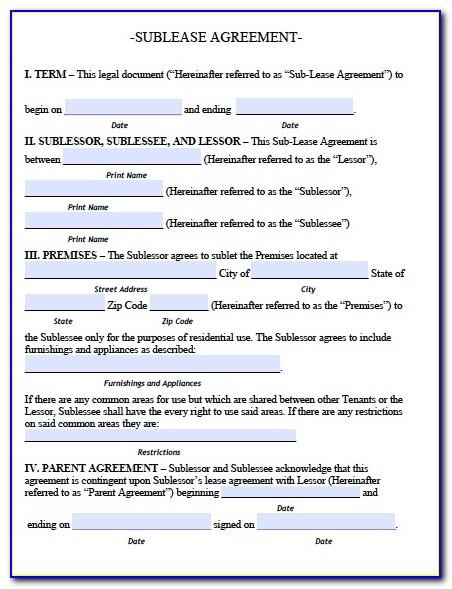 Sublet Lease Contract Template