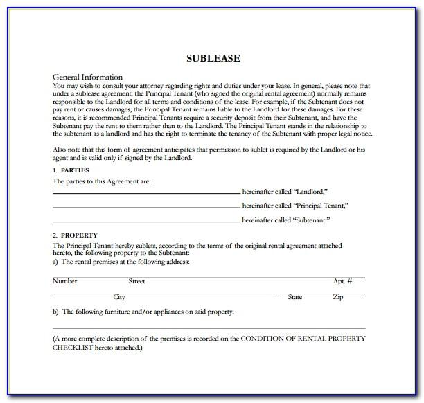 Sublet Rental Contract Template