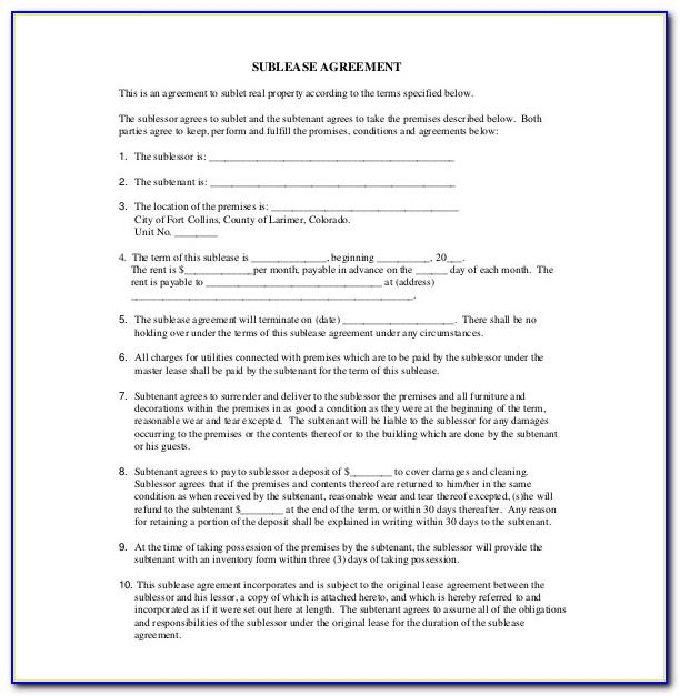 Subletting Agreement Template Free