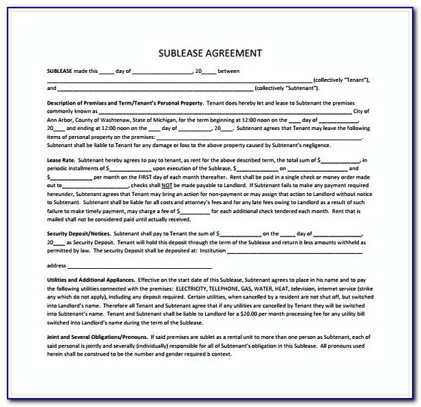 Subletting Agreement Template Ireland