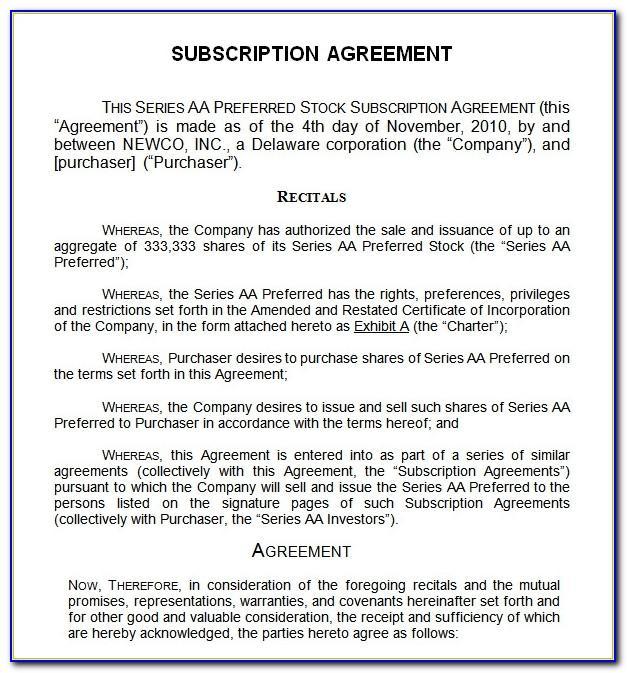 Subscription Agreement Template Australia