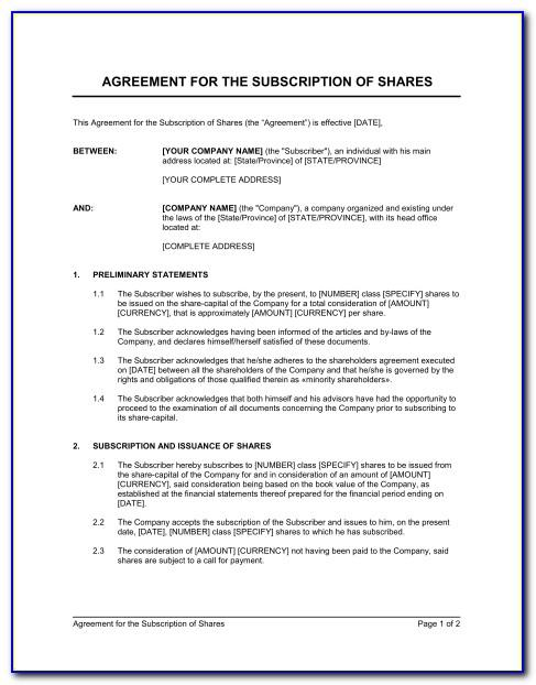 Subscription Agreement Template Free