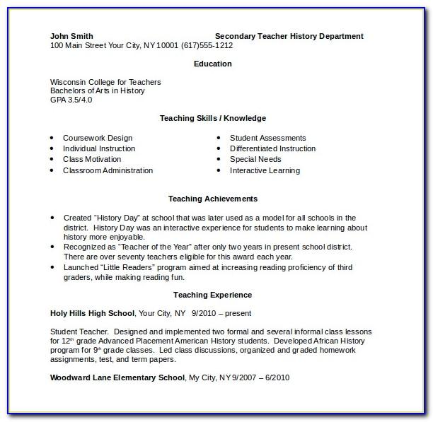 Teacher Resume Format In Word India