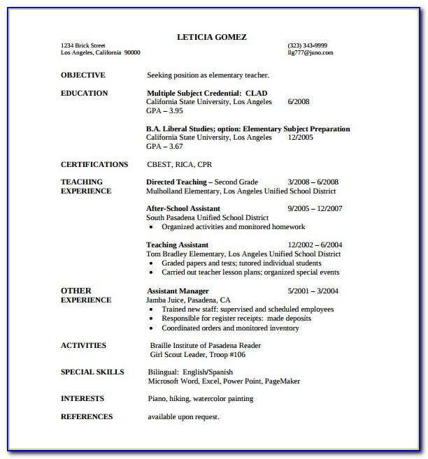 Teacher Resume Format Pdf Free Download