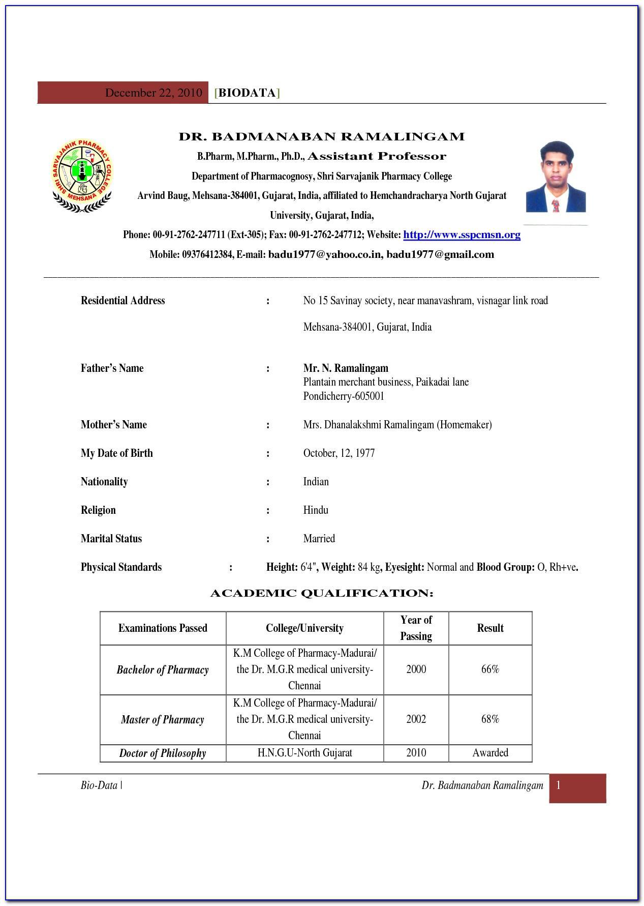 Teachers Resume Format Free Download