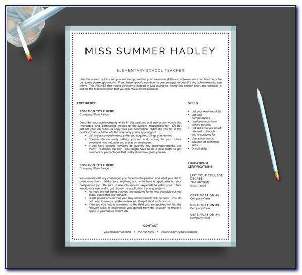 Teaching Resume Format Free Download