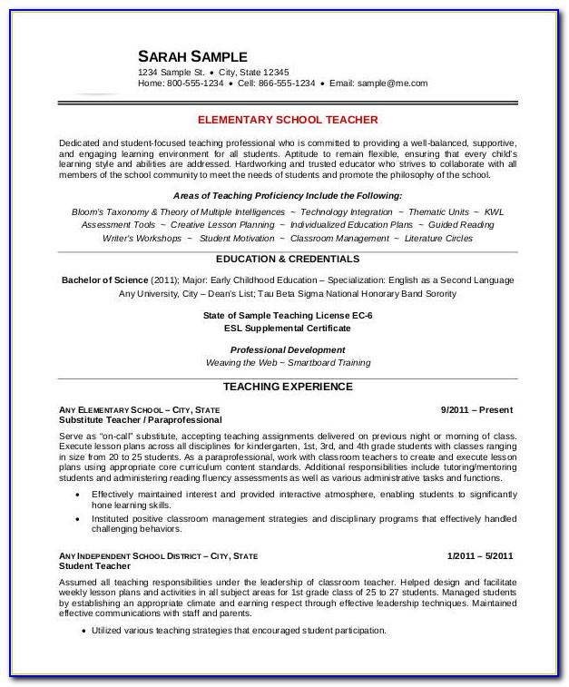 Teaching Resume Template Word Free
