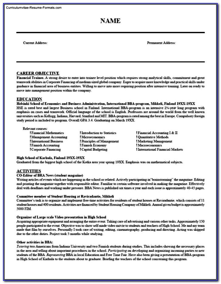 Teaching Resume Templates Free