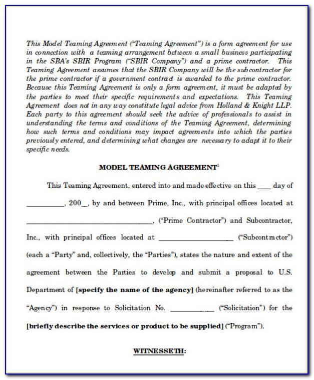 Teaming Agreement Template Australia