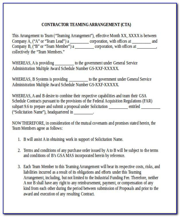 Teaming Agreement Template Free