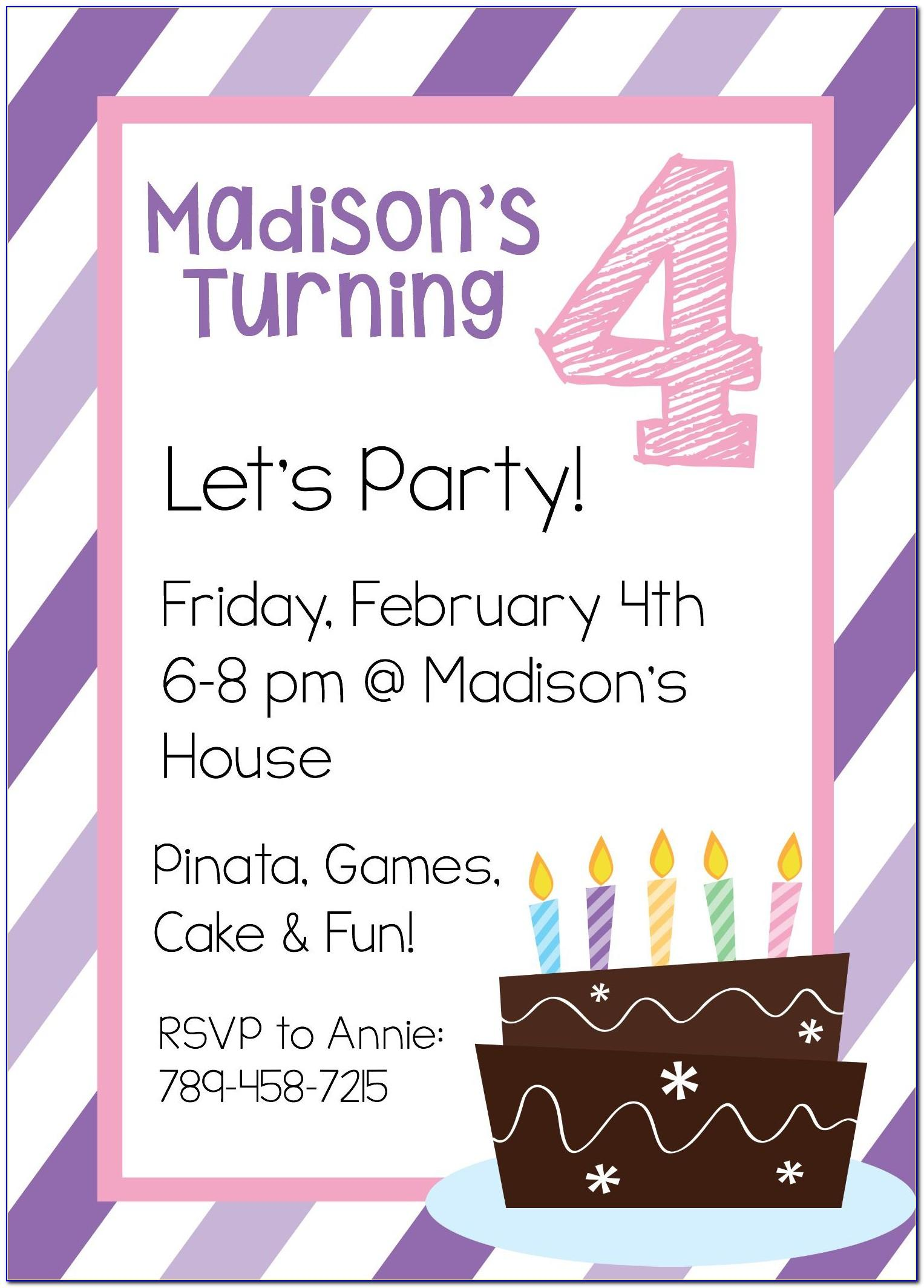 Tween Birthday Invitation Templates
